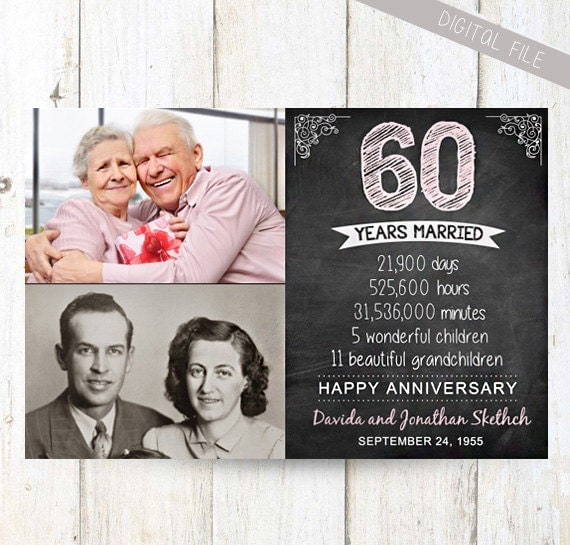 60th Wedding Anniversary Gift Ideas For Parents : gift for wife husband or best friends - 60th anniversary parents gift ...