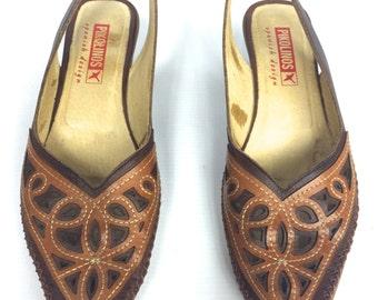 PIKOLINOS - Leather Moccasin Sandal Flats - Size 36