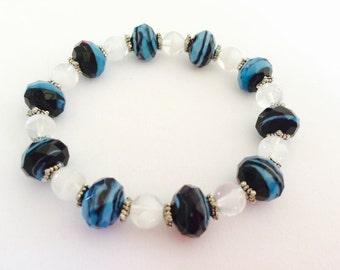 Teal and Black Glass Bead Bracelet