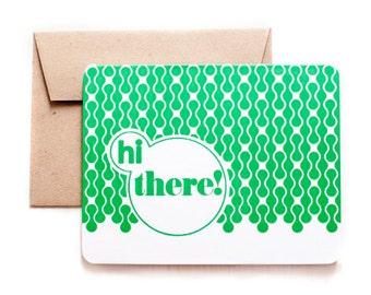 Hi there! - Folded Letterpress card with kraft envelope