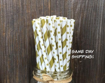 100 Gold Stripe and Polka Dot Paper Straws - Wedding, Shower or Party Supply, Free Shipping!