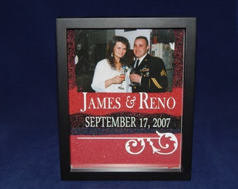 Unity Sand Shadow Box / Frame w/Photoinsert, etched - WITHOUT pouring vessels