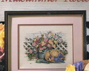 CROSS STITCH PATTERN - Midsummer Roses Flower Bouquet Cross Stitch Pattern - Floral Cross Stitch - Paula Vaughn - Leisure Arts #2246