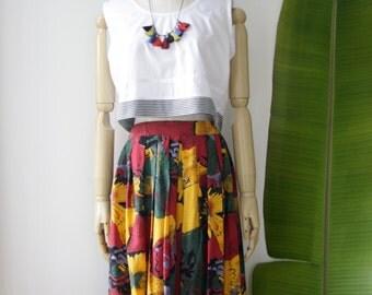 90s floral midi skirt. Sunflower midi skirt. Bright 90s skirt. Colorful floral skirt. 90s abstract skirt. Reality Bites skirt. Twin Peaks