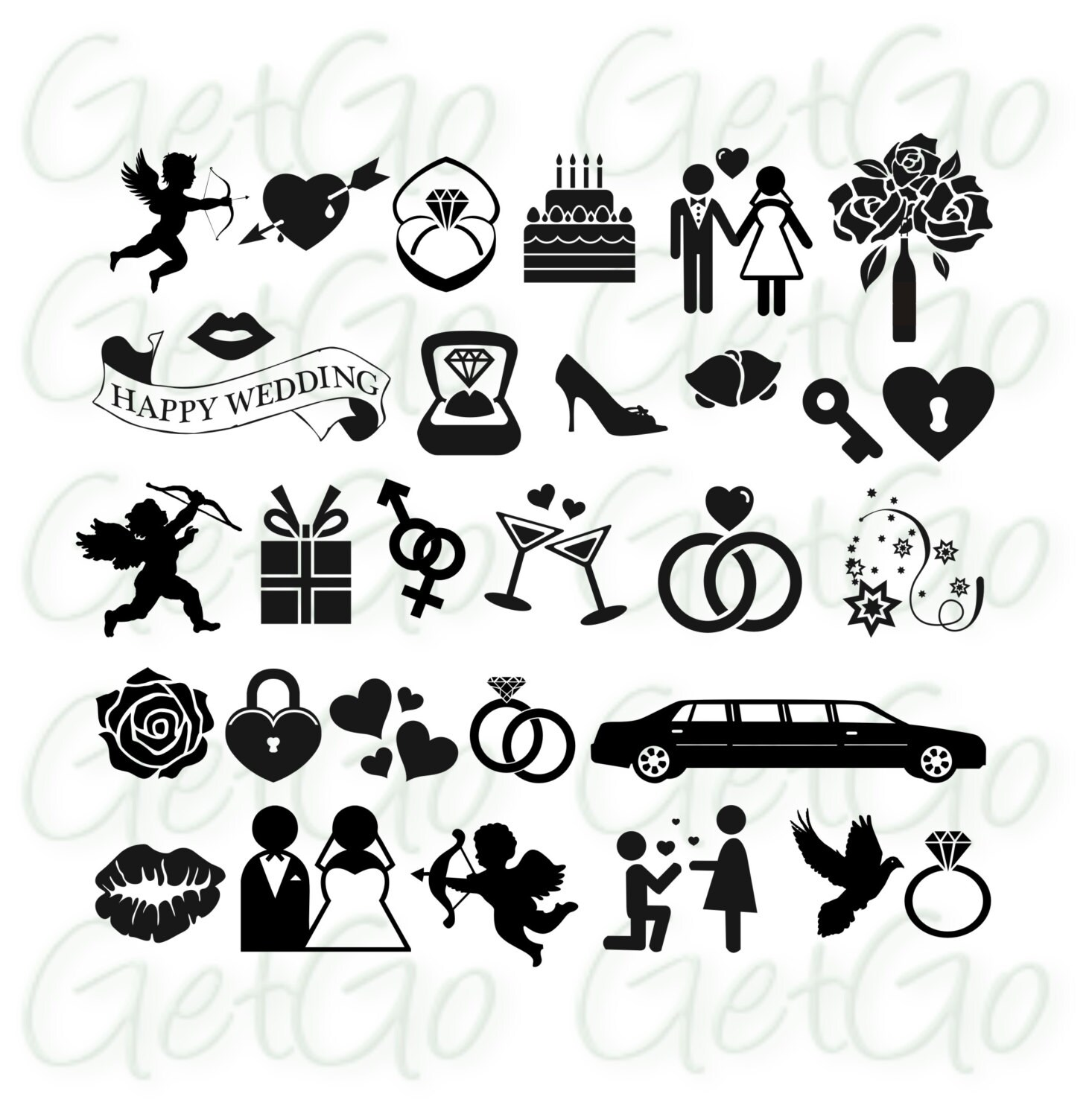 Wedding Gift Clipart Free : Wedding Icons Clipart Vectors Invitation Clip Art Cards