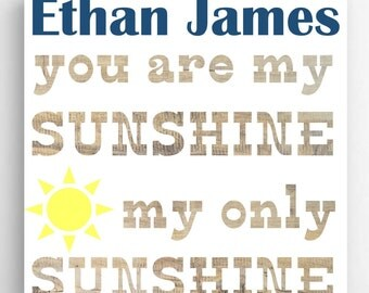 Personalized You Are My Sunshine Kid's Room Sign - Kids Wall Decor - (NC)