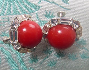 CORO Earrings Cherry Red Lucite Clear Rhinestones Vintage Jewelry Bling Gift 1950s Old Hollywood Regency Pinup Glam Pin Up Rockabilly Bride