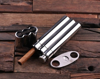 Personalized Stainless Steel Cigar Holder Case with Whiskey Flask and Cutter Father's Day, Groomsmen Gift