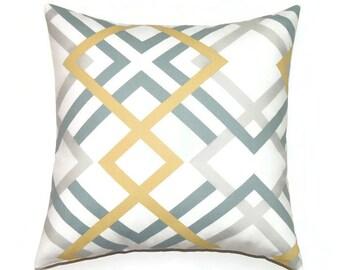 Blue and Yellow Geometric Pillow, Designer Pillow, 20x20 Pillow Cover, Modern Decorative Pillows, Cushion Cover, Winston Saffron Yellow