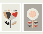 Scandi Flowers (Red and Grey), Series of two. Scandinavian art,Scandi art, geometric, Nursery art, Flower prints, Scandi baby, Geometric.