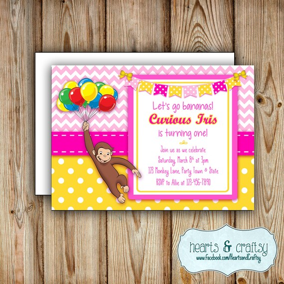 Curious George Birthday Party Invitation Curious George Party