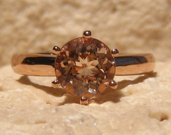 Peachy Pink Morganite in Rose Gold Solitaire Engagement Ring