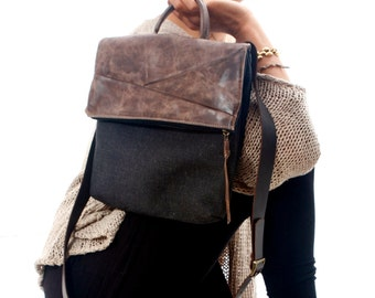 BLACK Cross Body Bag, Handbag, Purse, Travel Bag,shoulder bag brown , leather and canvas