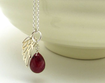 Ruby guardian angel necklace, memorial necklace, July birthstone pendant, red ruby jewelry, silver ruby necklace, July memorial necklace