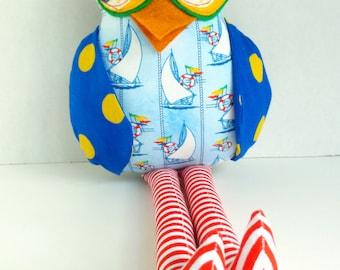 Owl doll, Plush boy owl, Stuffed fabric owl, Child friendly toy, Owl decoration, Red blue yellow owl, Sailboat theme owl, Cloth owl rag doll