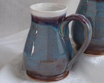 Handmade Stoneware Mug in Blue and White holds 16 oz.