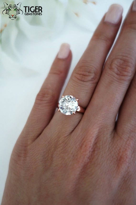 Items similar to 4 ct Round Cut Low Profile Ring Solitaire Engagement Ring