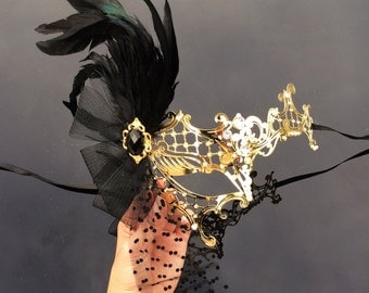 Masquerade Mask, Feather Mask, 1920's Great Gatsby Dress Masquerade Mask with Diamonds, Veil, Gems and Feathers, Masquerade Ball Mask