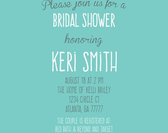 Teal and Coral Floral Bridal Shower Invitation