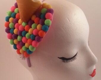 Rainbow dessert ice cream cone headband, kawaii, sweet lolita, fairy kei