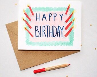 Birthday Cake Card, Birthday Cards, Happy Birthday Card, Birthday Card Friend, Birthday Card, Greeting Card, Card Birthday