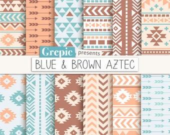 "Aztec digital paper: ""BLUE & BROWN AZTEC"" aztec patterns, tribal backgrounds, neutral, earth, geometric, native, triangles, arrows, digital"