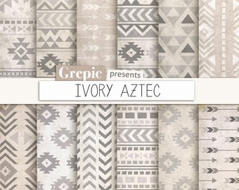 """Aztec digital paper: """"IVORY AZTEC"""" grungy patterns, tribal backgrounds, white, beige, gray, geometric, native, triangles, arrows, grunge"""