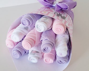 Baby Girl Washcloth Bouquet, Pregnancy Gift, Pink and Purple Washcloth Flowers, Shower Gift New Mom, Elephant Baby Shower, Baby Bath Gift