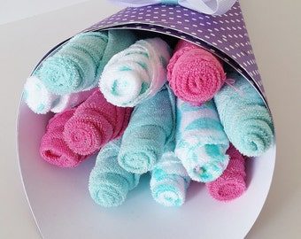 Baby Girl Washcloth Bouquet, Pregnancy Gift, Teal and Purple Washcloth Flowers, Shower Gift New Mom, Baby Girl Baby Shower, Baby Bath Gift