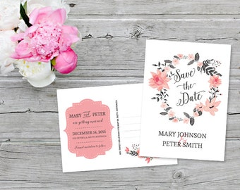 Wedding Save the Date Invitation Watercolor Flowers Postcard