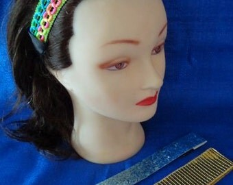 3 Beautiful Headbands Headwraps Gold Sequin Headband Blue Glitter Headband Neon Headband