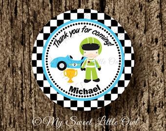 Race Car Cupcake Topper - race car party favor Tags - Race car birthday party - race car printable - race car baby shower