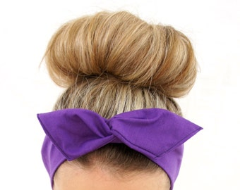 Purple Tie Up Dolly Bow Wire Headband