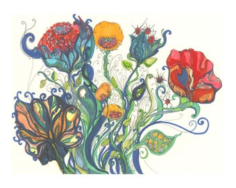 Gypsy Carnival, An 11 x 14, Boho Art Print, of Whimsical Flowers in Watercolor, Bright Colors and fine Pen Detail