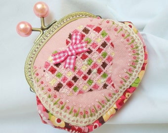 Heart and Flowers for Hermoine hand embroidered coin purse - in all the pinks and a little bit of chocolate