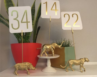 Gold Animal Table Numbers (Set of 5)