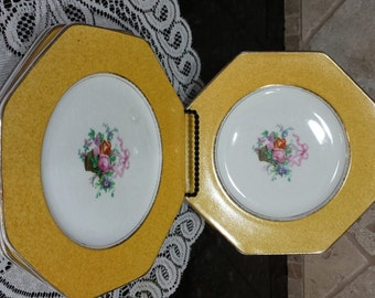 Four (4) Wedgwood Imperial Porcelain Luncheon Plates Octagon Yellow Border Flower Basket