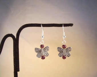 Butterfly, Red, Pearl, Silver, Maroon Butterfly, Summer, Red Pearl Earrings, Butterfly Earrings