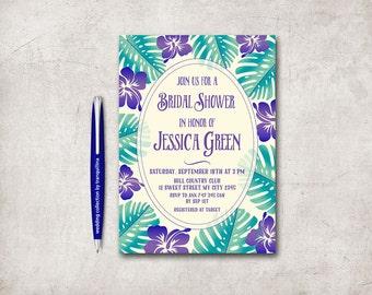 Tropical Bridal Shower Invitation Printable, Luau Bridal Shower Invitation, Luau Birthday Party Invitation, Hawaiian Bridal Shower Invite