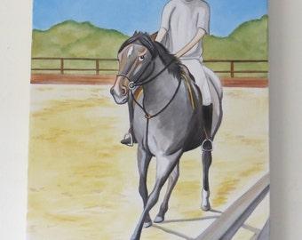 Whimsical horse art original painting canvas pony club humorous riding school stables yard blue roan trotting horseback kids room wall art