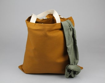 The Standard Tote // Caramel Brown UNWAXED Canvas Tote Bag