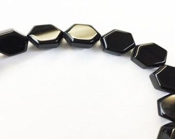 """Black Onyx Hexagon Flat Approx 10mm & 12mm 15.5""""L"""