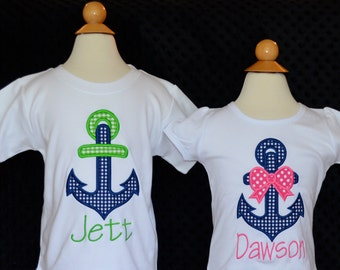 Personalized Anchor Applique Shirt or Onesie Girl or Boy