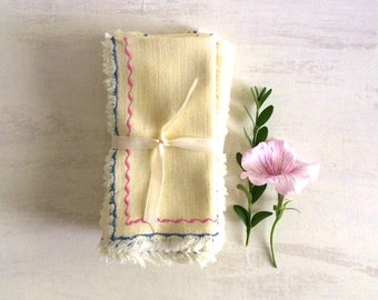 Vintage 9 Yellow Tea Napkins With Pink & Blue Decorative Stitching