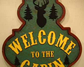 Welcome To The Cabin, Rustic Sign, Vintage Sign, Welcome Sign, Ranch Sign, Country Sign, Wood Sign, Deer