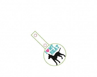 I Love My BRAT - Rat Terrier - Boston Terrier - In The Hoop - Snap/Rivet Key Fob - DIGITAL Embroidery Design