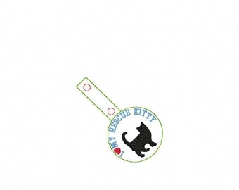 I LOVE My RESCUE Kitty - Rescue Cat - In The Hoop - Snap/Rivet Key Fob - DIGITAL Embroidery Design