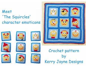 GRANNY SQUARE Pattern By Kjd Emoji character blanket Crochet Blanket Pattern Kids crochet, Granny Square Blanket Pattern Kerry Jayne Designs