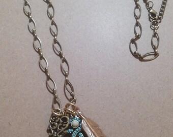 Boho Teal Bangle Necklace