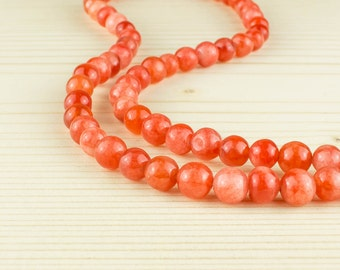 6 mm Orange agate beads• Orange agate beads • Agate gemstone beads • Orange agate gemstone beads • Round agate beads • Natural agate beads
